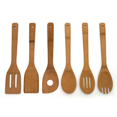 6pcs Bamboo Kitchen Utensil Wooden Cooking Tool Spoon Spatula Mixing Set