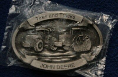 John Deere Tractor Belt Buckle Tires and Tracks Fine Pewter New in package