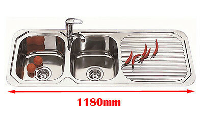 1180mm Italian Design 304 SS Double Bowl Kitchen Sink