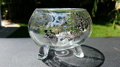 """Viking Glass # 10 Silver Overlay On Crystal Flower Frog Bowl 3½"""" Tall"""