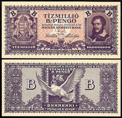Hungary 10,000,000 B. Pengo 1946 P135 Uncirculated