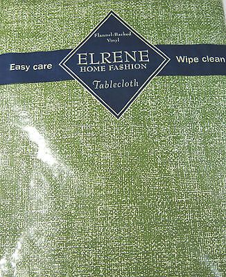 Flannel Back Vinyl Tablecloths Green   Assorted Sizes Oblong and Round