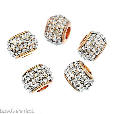 5 Perle Perline Charm Foro Largo Europeo Strass in Pave'Dorato 11mm x8mm