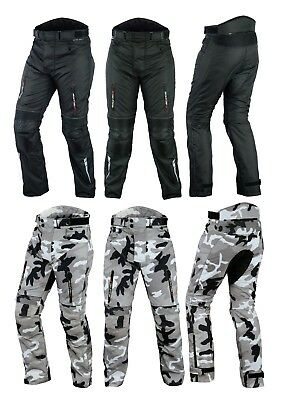 Motorcycle Waterproof Trousers CE Armoured Black  Motorbike camo Textile Pants