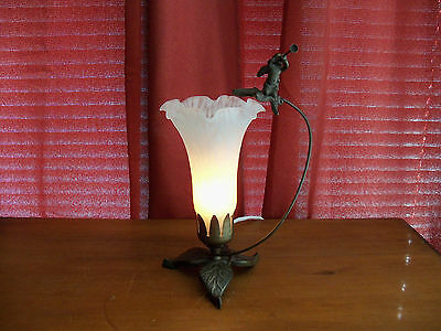 Cherub Blowing Horn Tulip lily Spatter Glass Accent lamp Night Light