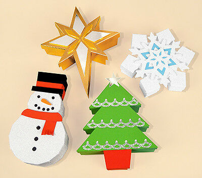 A4 Card Making Templates for 4 Christmas Themed Gift Boxes by Card Carousel