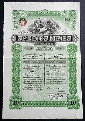 1935 Union of South Africa: Springs Mines Limited - 10 Shares