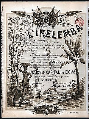 1898 Belgian Congo, Africa: l'Ikelemba Societe Anonyme - with coupons