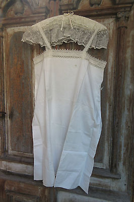 antique chemise  - night gown sleeveless - France - late Victorian - Initials MS