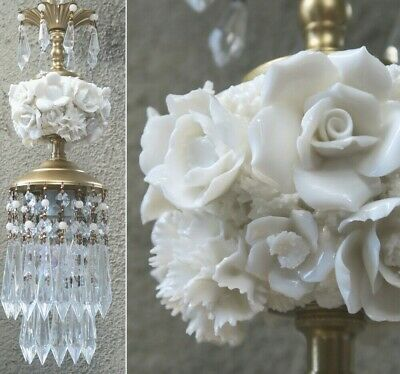 chandelier swag Porcelain Ivory Rose Brass tole vintage beaded opaline crystal p