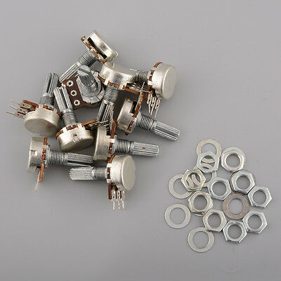 10pcs 10K Ohm Knurled Linear 15mm Gasket Potentiometer Panel pot B10K