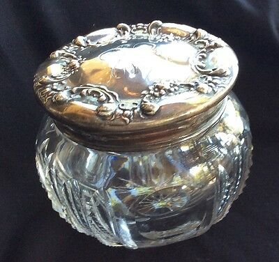 Sterling Silver Topped Crystal Dresser Jar Powder Box With flower Swags