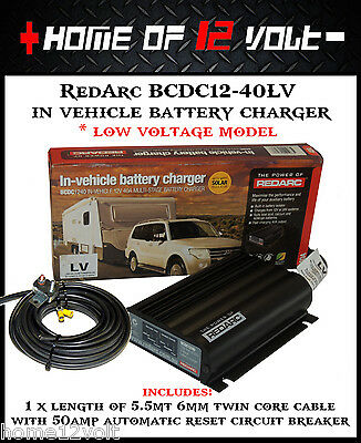 Redarc BCDC1240LV In vehicle battery charger +5.5mt 6mm cable + circuit breaker