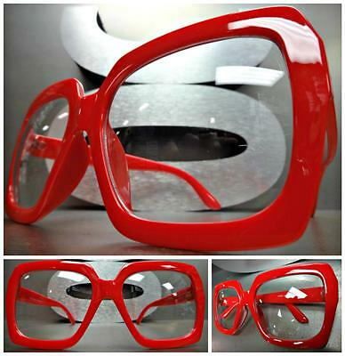 HUGE OVERSIZE 70's VINTAGE Style Clear Lens EYE GLASSES Thick Red Fashion Frame