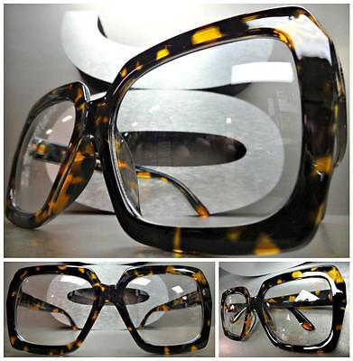 HUGE OVERSIZE VINTAGE Style Clear Lens EYE GLASSES Thick Tortoise Fashion Frame