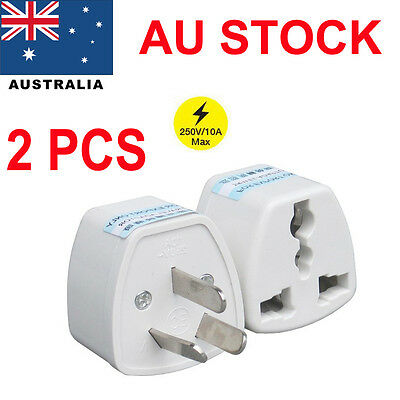 2PCS 3 PIN Australian Travel Power Plug Adapter EU UK US to AU Adaptor Converter