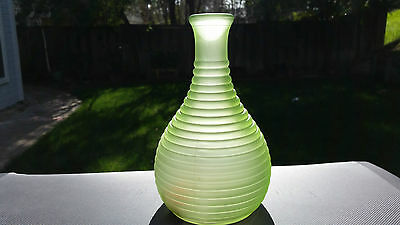Frosted Green Frigidaire Ribbed Glass Decanter / Water Bottle