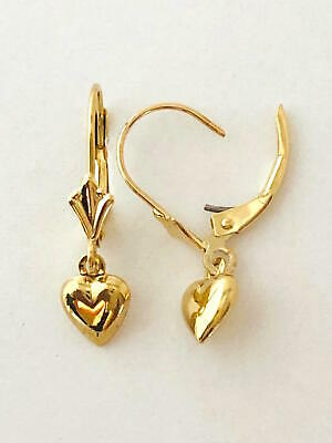 """14K Solid Yellow Gold 3D Happy Dolphin Earring 1//2/"""" Length 5//8"""" E697 Width"""
