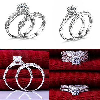 2Pcs/Set Women Engagement Wedding PARTY Cubic Zirconia Silver Plated Ring HS5
