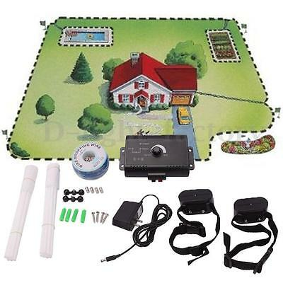 Waterproof Underground Electric Dog Fence System 2 Shock Collar for 2 dogs NEW