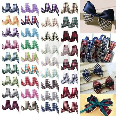 "1"" 25mm 10 Yards Tartan Plaid Ribbon Gingham Woven Ribbon Various Colors"