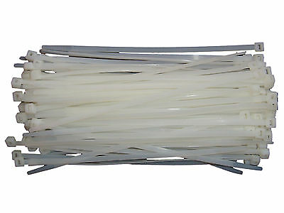 100 x NATURAL / CLEAR Cable Ties 200mm x 4.8mm - Nylon Zip Ties