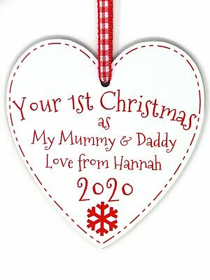Your First Christmas As My/To NAME YEAR RELATION 1st Xmas Heart Tree Decoration