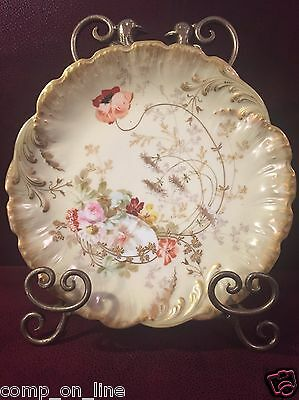Antique Handpainted Martial Redon Mr France Limoges Flower Cabinet Plate Charger