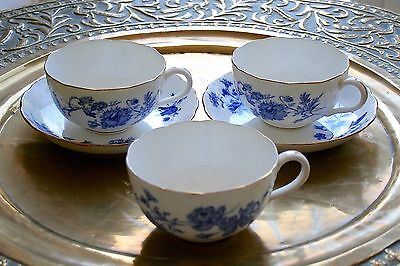 Three Minton Large Teacups And Two Saucers.