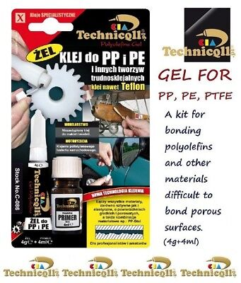 TECHNICQLL 4ml + 4g ADHESIVE GLUE GEL FOR PP Polypropylene PE Polyethylene PTFE