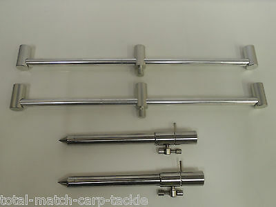 2 x Stainless Steel Bank Sticks 15 - 25 cm's and 2 x 3 rod 30cm Ali Buzz Bars
