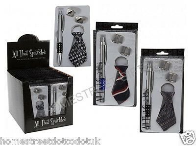 New Pen Cufflinks And Keying Gift Set In Many Random Novelty Designs Bargain New
