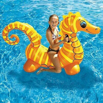 """NEW 72"""" Sea Horse Jumbo Kids Rider Inflatable Pool Float Raft Water Floating Toy"""