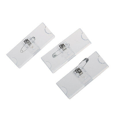 Safetypin Clear Hard Plastic Name Tag Clip Holder 3 Pcs DW