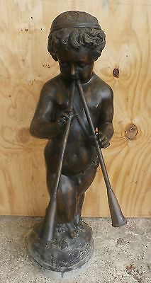 Cast Bronze Fountain Boy Pan with 2 flutes Brown Patina H 40""