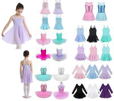 Girls Kids Tutu Ballet Leotard Dance Dress Ballerina Unitard Dancewear Costume
