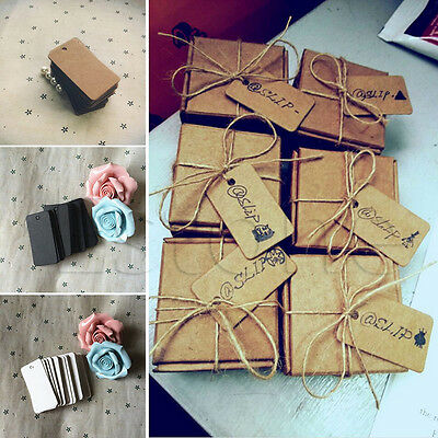 100Pcs Kraft Paper Rectangle Hang Tags Wedding Party Favor Label Price Card Gift