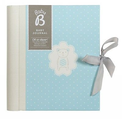 Busy B Boys Blue Baby Record Book With Four Tabbed Paper Pocket Sections