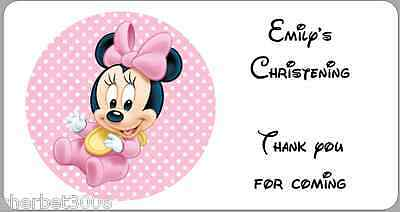 24 x Personalised Stickers Christening Minnie Mouse Baby Girl Labels
