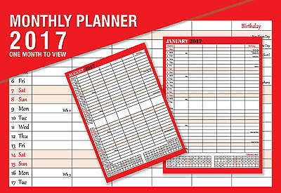 2017 Large Calendar  Month To View Red & Black Planner /Wall Office  ST-9306