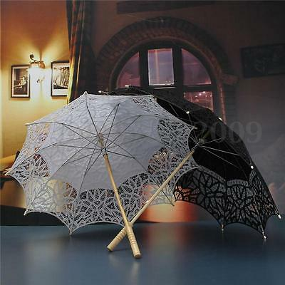 Black White Lace Pure Cotton Flower Embroidery Wedding Umbrella Bridal Parasol