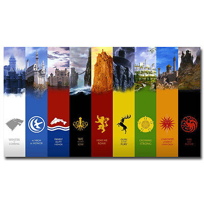 Game Of Thrones Banners TV Shows Silk Poster 12x18 24x36 inches 029