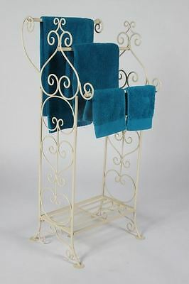 French Cream Scroll Detail Towel Rail for 3 and Stand
