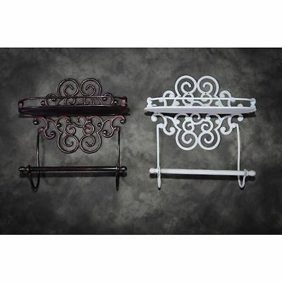 """Grey """"Lavellan"""" Scrolled Cast Iron Shelf with Towel Holder"""