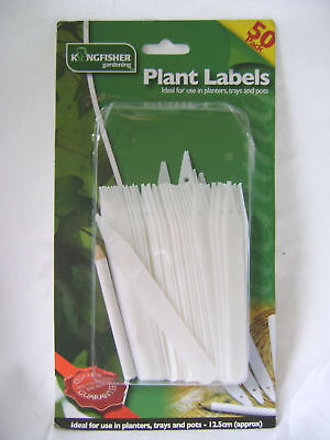 NEW KINGFISHER 50 WHITE PLANT MARKERS WITH PENCIL STICKS LABELS 12.5cm GSP202