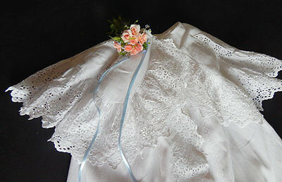 Christening Cape French Vintage in Cotton Pique with Exceptional Embroidery.
