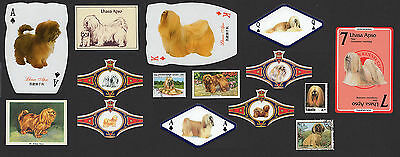 15 Lhasa Apso Collectable Dog Cigarette Trade / Breed Cards Stamps And Bands
