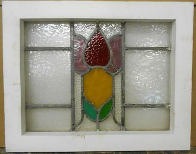 "OLD ENGLISH LEADED STAINED GLASS WINDOW Beautiful Floral Design 19.75"" x 15.75"""