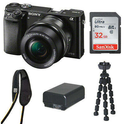 Sony Alpha a6000 Mirrorless Camera with 16-50mm Lens and 32GB SD Card Bundle