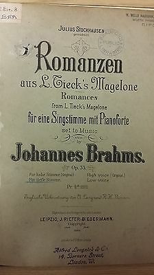 Brahms: Romances For Voice And Piano: Music Score (A4)